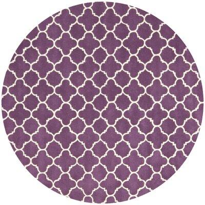 Wilkin Purple & Ivory Area Rug Rug Size: Round 7
