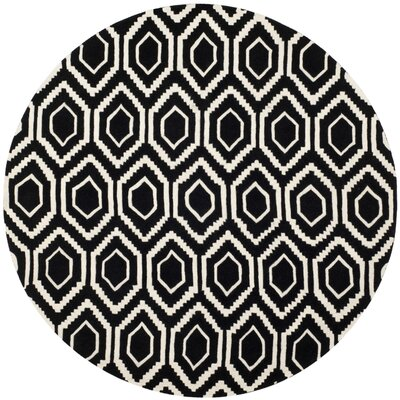 Wilkin Hand-Tufted Black/Ivory Area Rug Rug Size: Round 7'