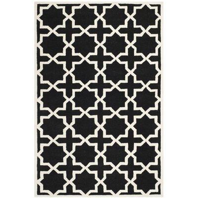 Wilkin Black & Ivory Area Rug Rug Size: 4 x 6