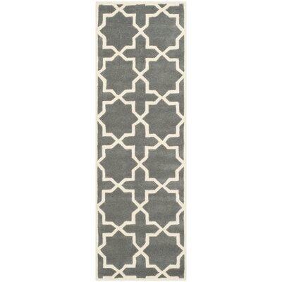 Wilkin Hand-Woven Dark Gray Area Rug Rug Size: Runner 23 x 7