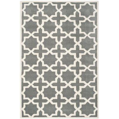 Wilkin Dark Grey / Ivory Rug Rug Size: 6 x 9
