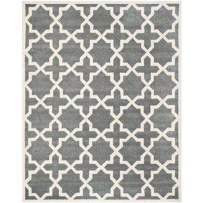 Wilkin Hand-Woven Dark Gray Area Rug Rug Size: Rectangle 89 x 12