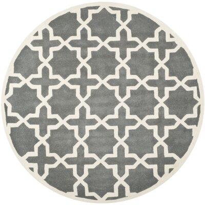 Wilkin Hand-Woven Dark Gray Area Rug Rug Size: Round 7