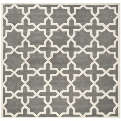 Wilkin Hand-Woven Dark Gray Area Rug Rug Size: Square 7