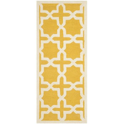 Martins Yellow Area Rug Rug Size: Runner 26 x 10