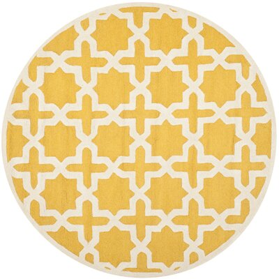 Martins Yellow Area Rug Rug Size: Round 6