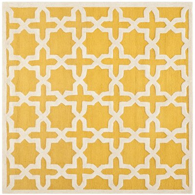 Martins Yellow Area Rug Rug Size: Square 6
