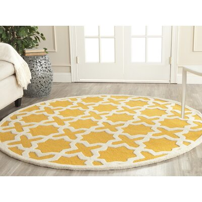 Martins Gold / Ivory Area Rug Rug Size: Round 4
