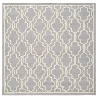 Martins Silver / Ivory Area Rug Rug Size: Square 10