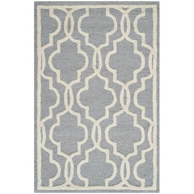 Martins Hand-Tufted Wool Silver/Ivory Area Rug Rug Size: Rectangle 9 x 12