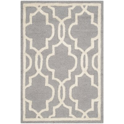 Martins Hand-Tufted Wool Silver/Ivory Area Rug Rug Size: Rectangle 10 x 14