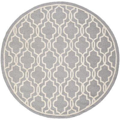 Martins Silver / Ivory Area Rug Rug Size: Round 6
