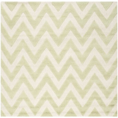 Charlenne Hand-Tufted Light Green/Ivory Area Rug Rug Size: Square 6