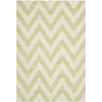 Charlenne Hand-Tufted Light Green/Ivory Area Rug Rug Size: Rectangle 4 x 6