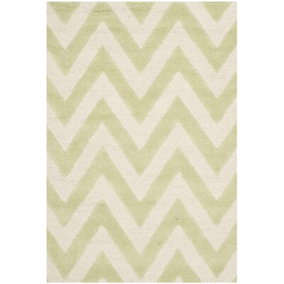 Charlenne Hand-Tufted Light Green/Ivory Area Rug Rug Size: Rectangle 3 x 5