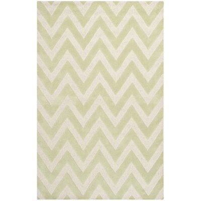 Charlenne Hand-Tufted Light Green/Ivory Area Rug Rug Size: Rectangle 6 x 9
