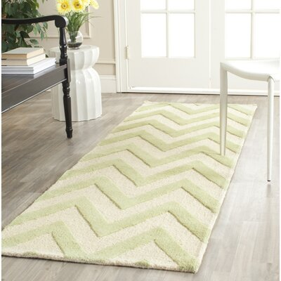 Charlenne Hand-Tufted Light Green/Ivory Area Rug Rug Size: Runner 26 x 8