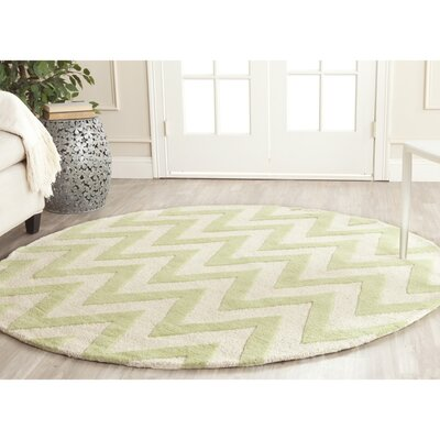Charlenne Hand-Tufted Light Green/Ivory Area Rug Rug Size: Round 6
