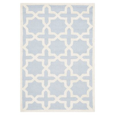 Martins Hand-Tufted Light Blue/Ivory Area Rug Rug Size: Rectangle 4 x 6