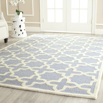 Martins Hand-Tufted Light Blue/Ivory Area Rug Rug Size: Rectangle 26 x 4