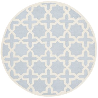 Martins Hand-Tufted Light Blue/Ivory Area Rug Rug Size: Round 6