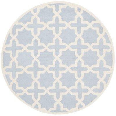 Martins Light Blue/Ivory Area Rug Rug Size: Round 10