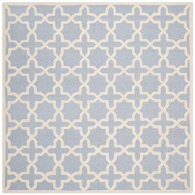 Martins Light Blue/Ivory Area Rug Rug Size: Square 10