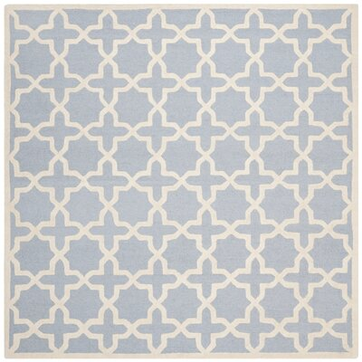 Martins Hand-Tufted Light Blue/Ivory Area Rug Rug Size: Square 8