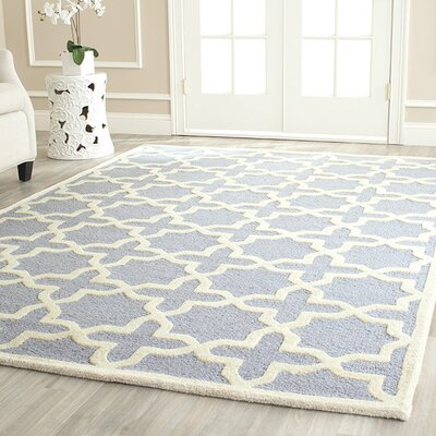 Martins Hand-Tufted Light Blue/Ivory Area Rug Rug Size: Square 8