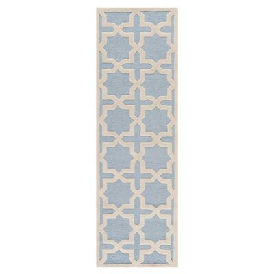 Martins Hand-Tufted Light Blue/Ivory Area Rug Rug Size: Runner 26 x 12