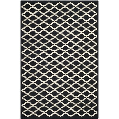 Martins Black/Ivory Area Rug Rug Size: Rectangle 4 x 6