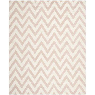 Martins Chevron Light Pink & Ivory Area Rug Rug Size: 2 x 3