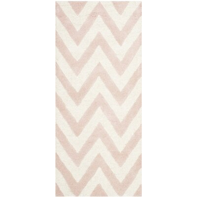 Martins Chevron Light Pink & Ivory Area Rug Rug Size: Runner 26 x 12