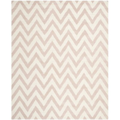 Martins Chevron Light Pink & Ivory Area Rug Rug Size: 2'6