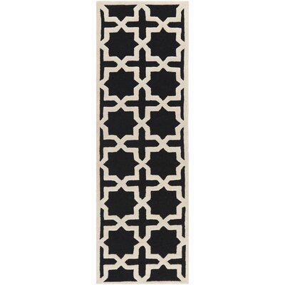 Martins Black/Ivory Area Rug Rug Size: Runner 26 x 8