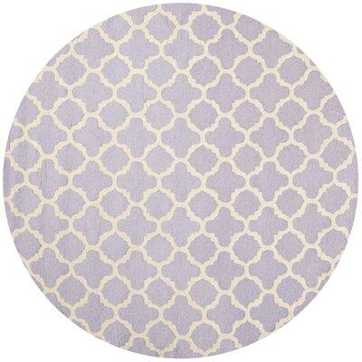 Martins Hand-Tufted Wool Lavander/Ivory Area Rug Rug Size: Round 6