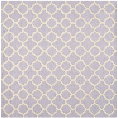 Martins Hand-Tufted Wool Lavander/Ivory Area Rug Rug Size: Square 6