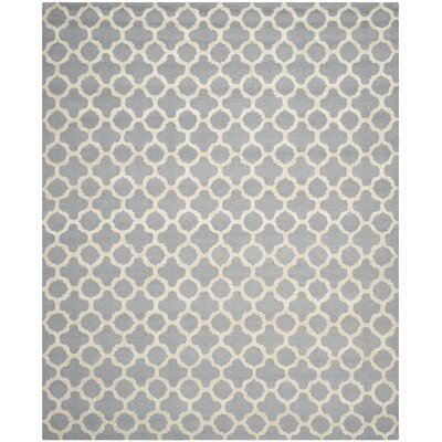 Martins Circle Silver & Ivory Area Rug Rug Size: 26 x 4