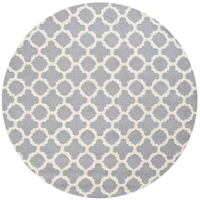 Martins Circle Silver & Ivory Area Rug Rug Size: Round 6