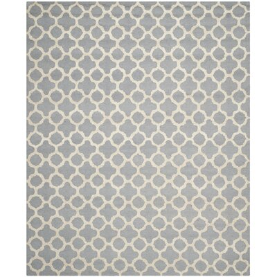 Martins Circle Silver & Ivory Area Rug Rug Size: 8 x 10