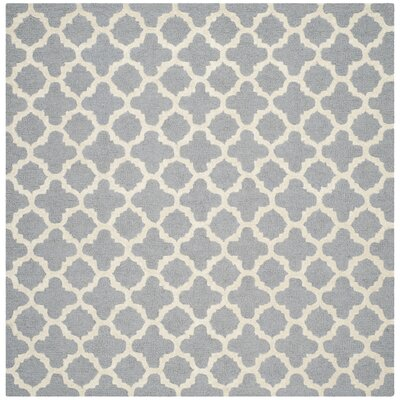 Martins Circle Silver & Ivory Area Rug Rug Size: Square 8