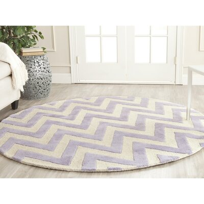 Charlenne Hand-Tufted Wool Lavender/Ivory Area Rug Rug Size: Round 6