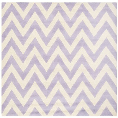 Charlenne Hand-Tufted Wool Lavender/Ivory Area Rug Rug Size: Square 6