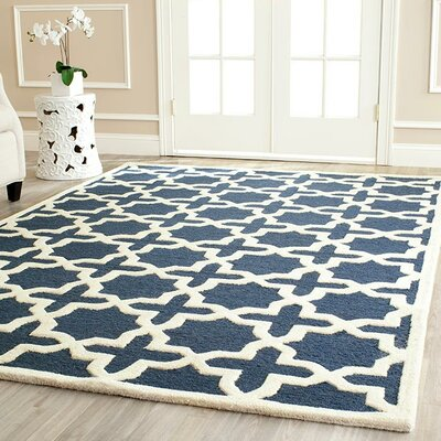 Martins Navy Blue / Ivory Area Rug Rug Size: Rectangle 26 x 4