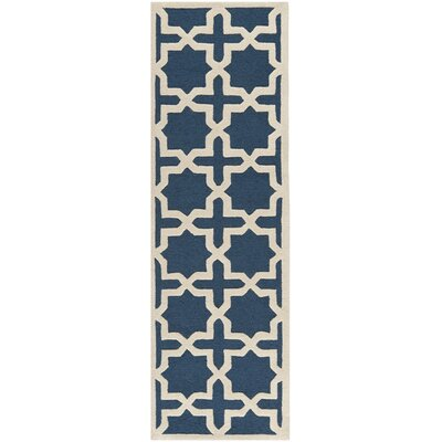 Martins Navy Blue / Ivory Area Rug Rug Size: Runner 26 x 20