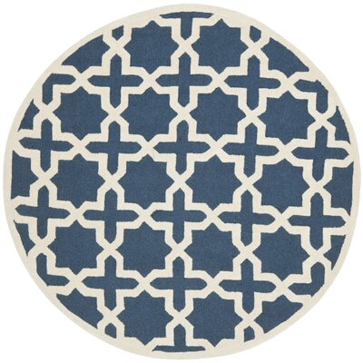 Martins Navy Blue / Ivory Area Rug Rug Size: Round 8
