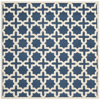 Martins Navy Blue / Ivory Area Rug Rug Size: Square 10