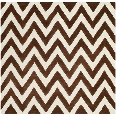 Charlenne Hand-Tufted Dark Brown/Ivory Area Rug Rug Size: Square 6