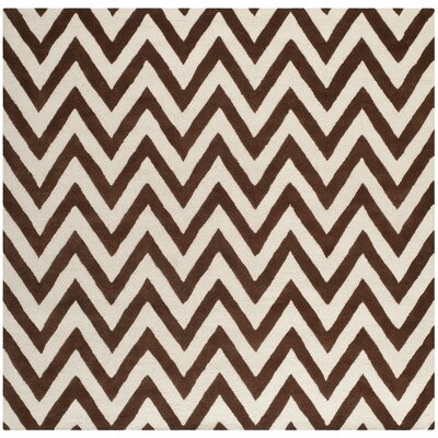 Charlenne Dark Brown/Ivory Area Rug Rug Size: Square 8
