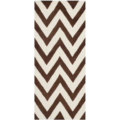 Charlenne Hand-Tufted Dark Brown/Ivory Area Rug Rug Size: Runner 26 x 6